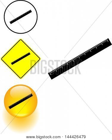 ruler symbol sign and button