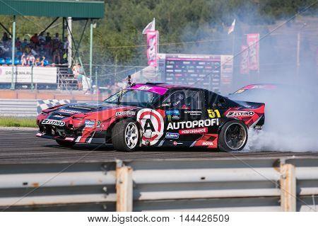 Nizhny Novgorod Russia Aug 20, 2016 : Russian Drift Series Stage 5 RDS Zapad West 2016 Alexei Chepa Golovnya. Nissan 200SX S13.