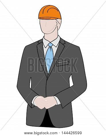 silhouette of a man in a business suit and with a construction helmet on his head. vector illustration.