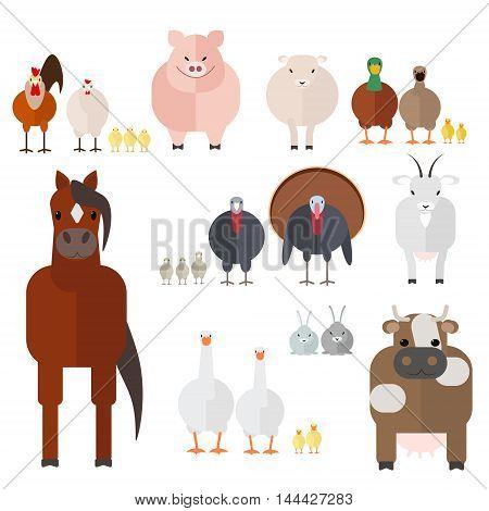 Farm animals set of farm animals and birds the vector