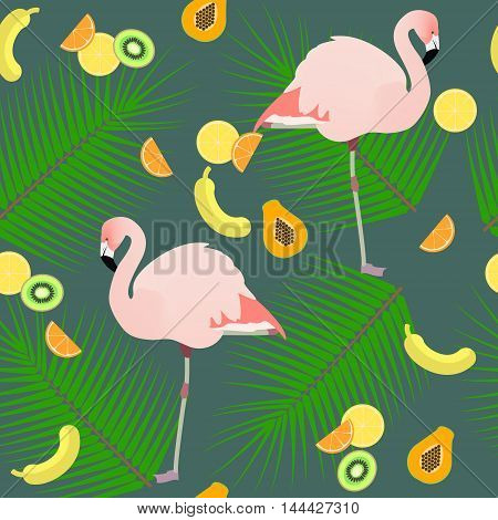 Seamless texture flamingos ion a pink background and fruits vector