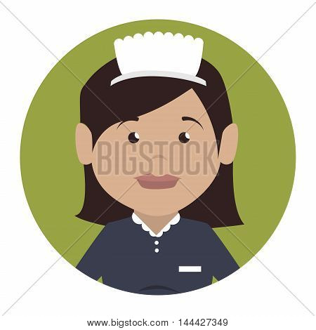 housekeeper service hotel isolated icon vector illustration design