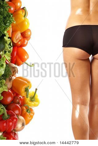 Beautiful young female next to dieting background