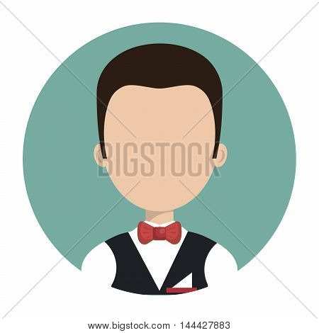 waiter hotel service isolated vector illustration design