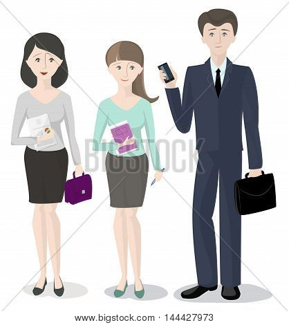 A team of three people office workers a man and two women standing side by side on a white background