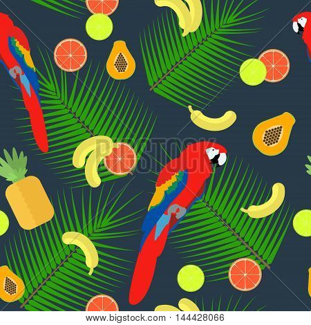 seamless texture parrot with tropical fruits on a dark background with a palm leaf