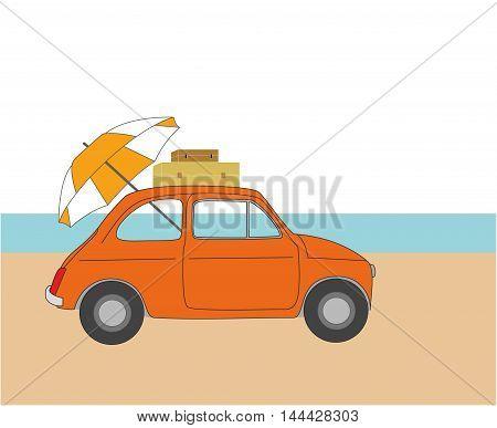 summer rest. car on the beach. vector illustration