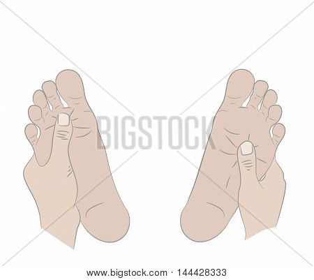 Vector illustration of a foot massage, relaxation therapy, Hands crumple human legs, Therapeutic medicine.