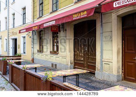 RIGA, LATVIA - SEP 7, 2014:  Old Town of Riga. Riga's historical centre is a UNESCO World Heritage Site