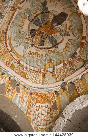 IHLARA, TURKEY - JUNE 22, 2015: Church from the Byzantine period built by the Cappadocian Greeks in Ihlara valley, Turkey
