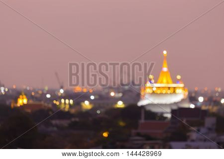 Blurred bokeh lights, Golden mountain Temple night view