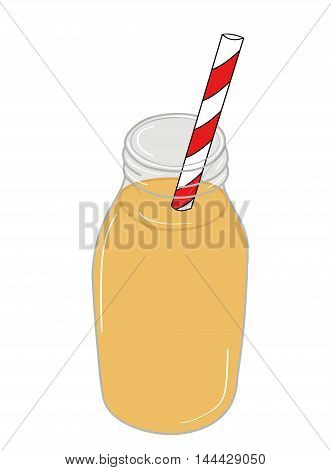 Freshly blended yellow and orange fruit smoothie in glass jar with straw. vector illustration