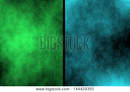 Illustration of green and cyan divided smoky background