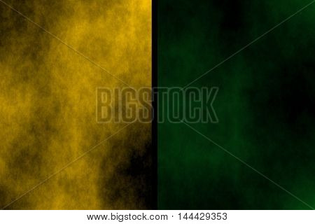 Illustration of orange and dark green divided smoky background