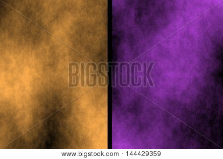 Illustration of orange and purple divided smoky background
