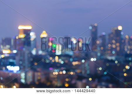 Abstract blurred bokeh lights, big city downtown night view