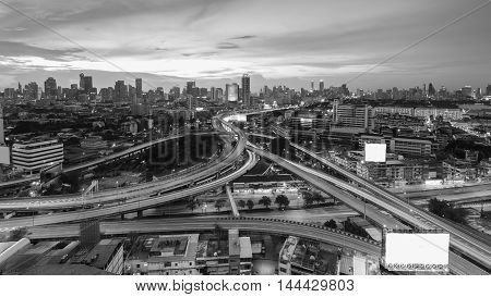 Black and White, Cityscape and highway interchanged with sunset background