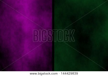 Illustration of purple and dark green divided smoky background
