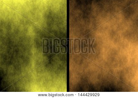 Illustration of yellow and orange divided smoky background