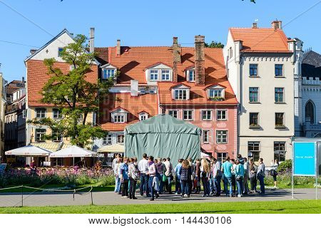 RIGA, LATVIA - SEP 7, 2014:  House in the Old Town of Riga. Riga's historical centre is a UNESCO World Heritage Site