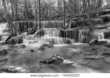 Black and White, Natural waterfalls in deep forest national park