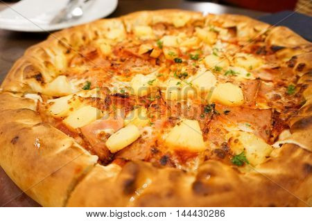 Hawaiian chicken pizza with pineapple. Delicious taste