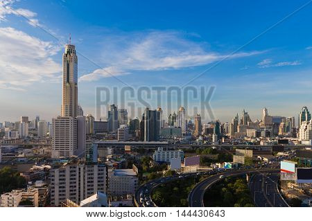 Bangkok city aerial view with clear blue sky background