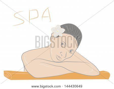 Beautiful Woman Getting Spa . Vector illustration