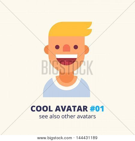 Cool avatar #01. Young blonde guy friendly smiling. Modern simple and clear design. Vector icon in flat style.