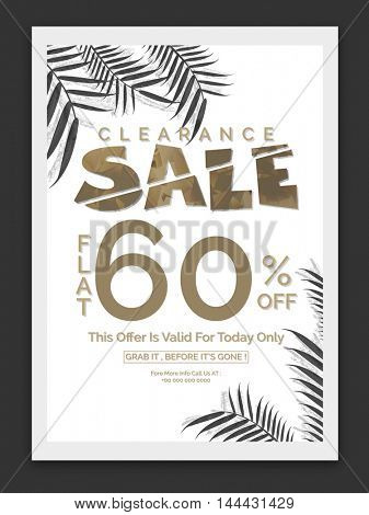 Clearance Sale and Discounts, Flat 60% Off, Stylish Typographical Background with palm leaves, Creative Poster, Banner, Flyer, Template, Brochure layout.
