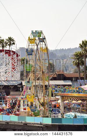 Santa Cruz, California, August 22, 2016 - the Ferris Wheel at Santa Cruz Beach Boardwalk, mid-afternoon