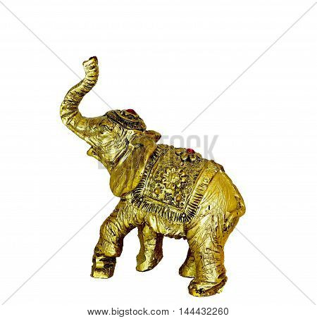 Elephant Gold Figure on a white background