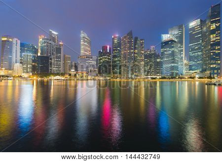 Singapore city central business area waterfront at twilight