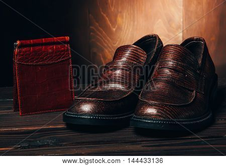 Mocasine Shoes And Portmone Wallet Of Snake Skin On Fire Red