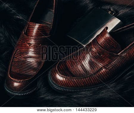 Mocasine Shoes Of Snake Skin Nose To Nose And Stainless Flask