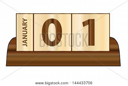 A typical wooden cube day and month calender over a white background