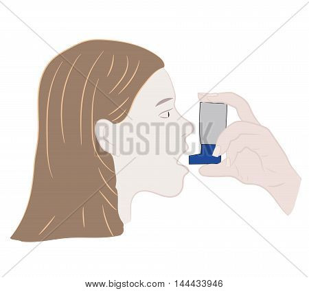 Young woman inhaling her asthma medication. vector illustration