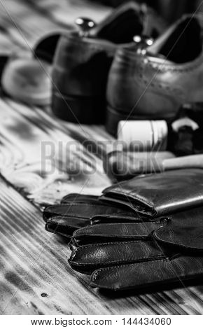 Dark Brown Leather Wallet,oxfords Shoes, Bottle Of Whiskey And W