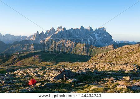 Italian Mountain Panorama At Dawn