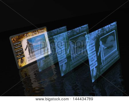 Stack of web pages on black background, 3D illustration.