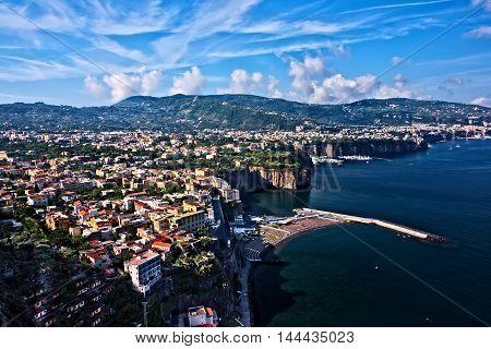 Scenic view of the Amalfi Coastline and the Meditteranean Sea near Positano Italy