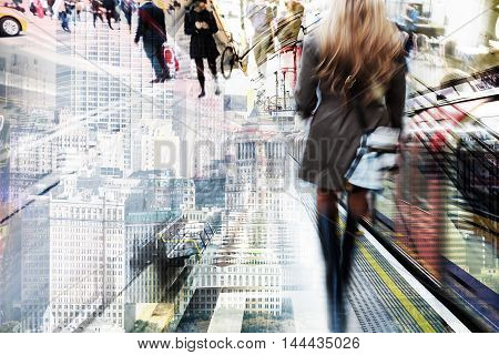 Multiexposured Picture Of People And Buildings