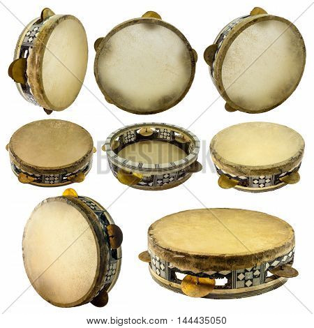 Traditional musical instument egyptian tambourine made of camel skin isolated on white background