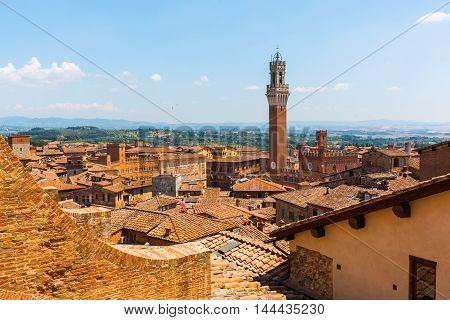 Aerial View Of The Cityscape Of Siena, Italy
