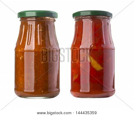 barbecue sauces in glass bottles isolated on white background