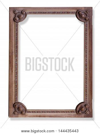 old wooden frameisplated on white with clipping path