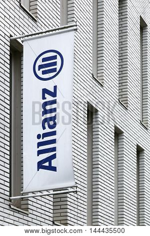 Nantes, France - June 25, 2016: Allianz sign on a wall. Allianz is a European financial services company headquartered in Munich, Germany.