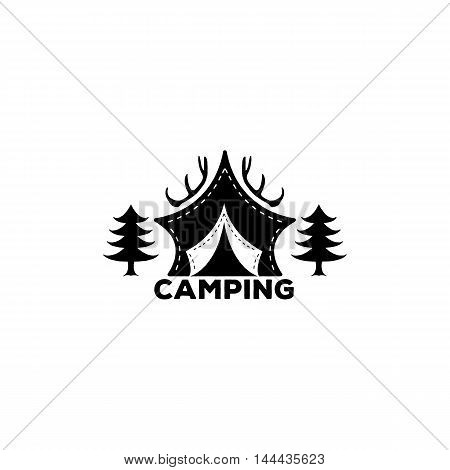Logo Camping forest horns and tents for decoration hike in the woods or just a logo. Vector illustrations eps8