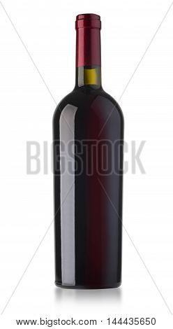 red wine and a bottle isolated over white background with clipping path