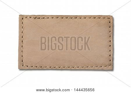 Blank jeans label isolated on white with clipping path